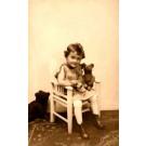 Teddy Bear Sitting on Girl's Lap Real Photo