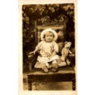 Teddy Bear in Chair by Girl Real Photo