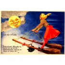 Witch on Two brooms Smiling Moon Poem Easter