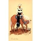 Cowboy on Horse Hand-Drawn
