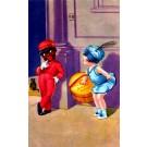Black Boy Doorman Looking at Girl