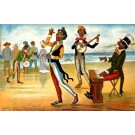 Black Banjo Player on Seashore