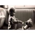 Girl Feeding Teddy Bear With Baby Bottle RPPC