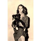 Girl Holding Teddy Bear on Her Lap Real Photo