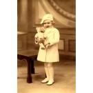 Girl Holding Polar Teddy Bear Real Photo