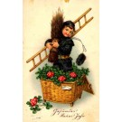 Chimney Sweep Standing in Basket