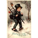 Chimney Sweep in Winter Woods New Year