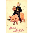Girl Chimney Sweep Riding Pig New Year