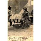 Chimney Sweep at Table and Girl Waiteress