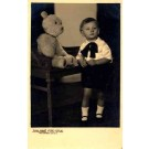 Teddy Bear in Chair and Boy Real Photo