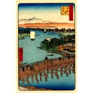 Crossing Bridge Sailboats Woodblock Print