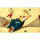 Player Over Tennis Net Comic
