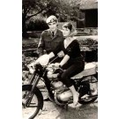 Motorcyclist Girl and Soldier Real Photo