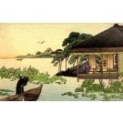 Boat Lotus Woodblock