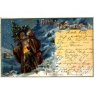 Santa Claus Brown Robed Chromolitho