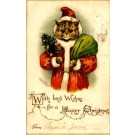 Wain Santa Claus Cat Christmas