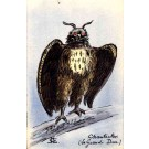 Hand-Painted Owl French Satire