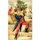 RARE Santa Claus Uncle Sam Squeaker