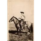 Cowboy & Horse Real Photo
