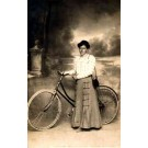 Bicycle Woman Real Photo