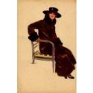 Art Deco Lady Fur Coat Italian