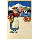 Swiss Woman in Costume Sailboat