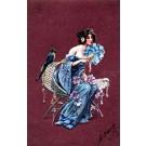 Art Nouveau Lady with Fan Parrot