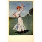 Golf Playing Girl Art Nouveau