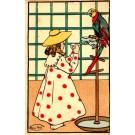 Brais Girl Parrot Art Nouveau